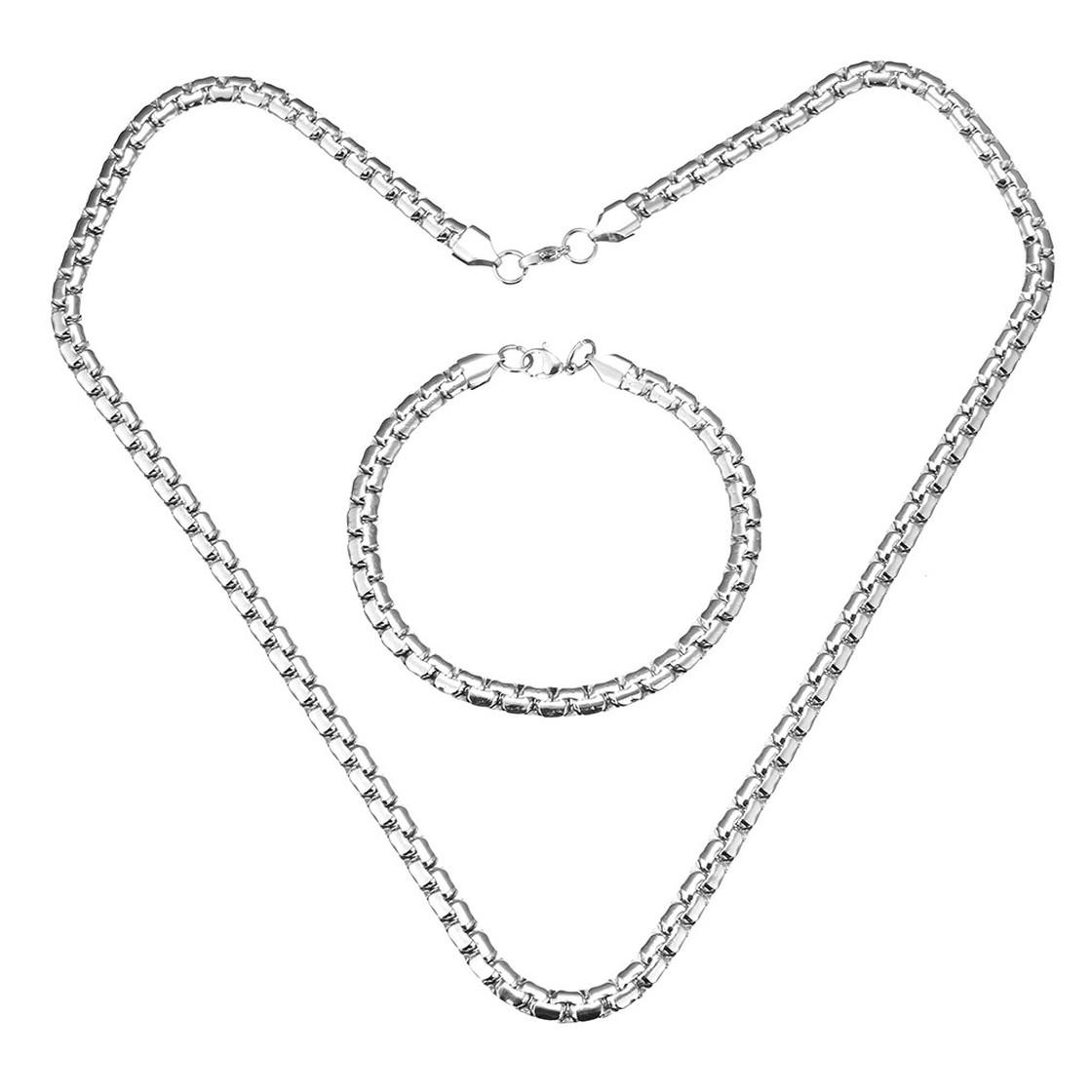 Halskette und Armband, Edelstahl, Silberfarben, Design
