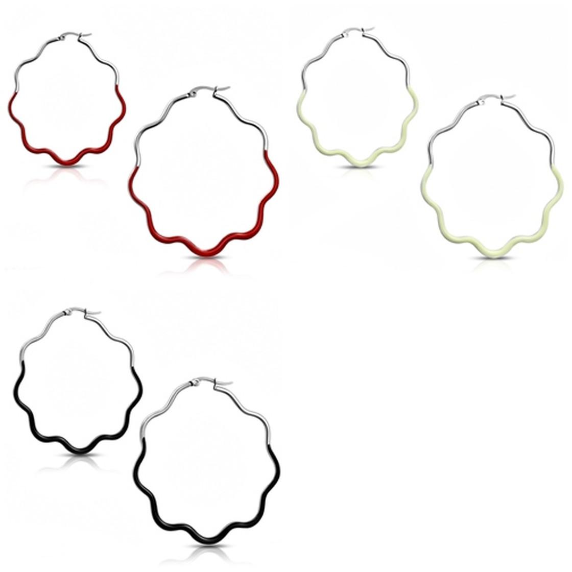 Silberfarben Poliert Creolen Damen Emailliert Edelstahl Ohrringe Floral