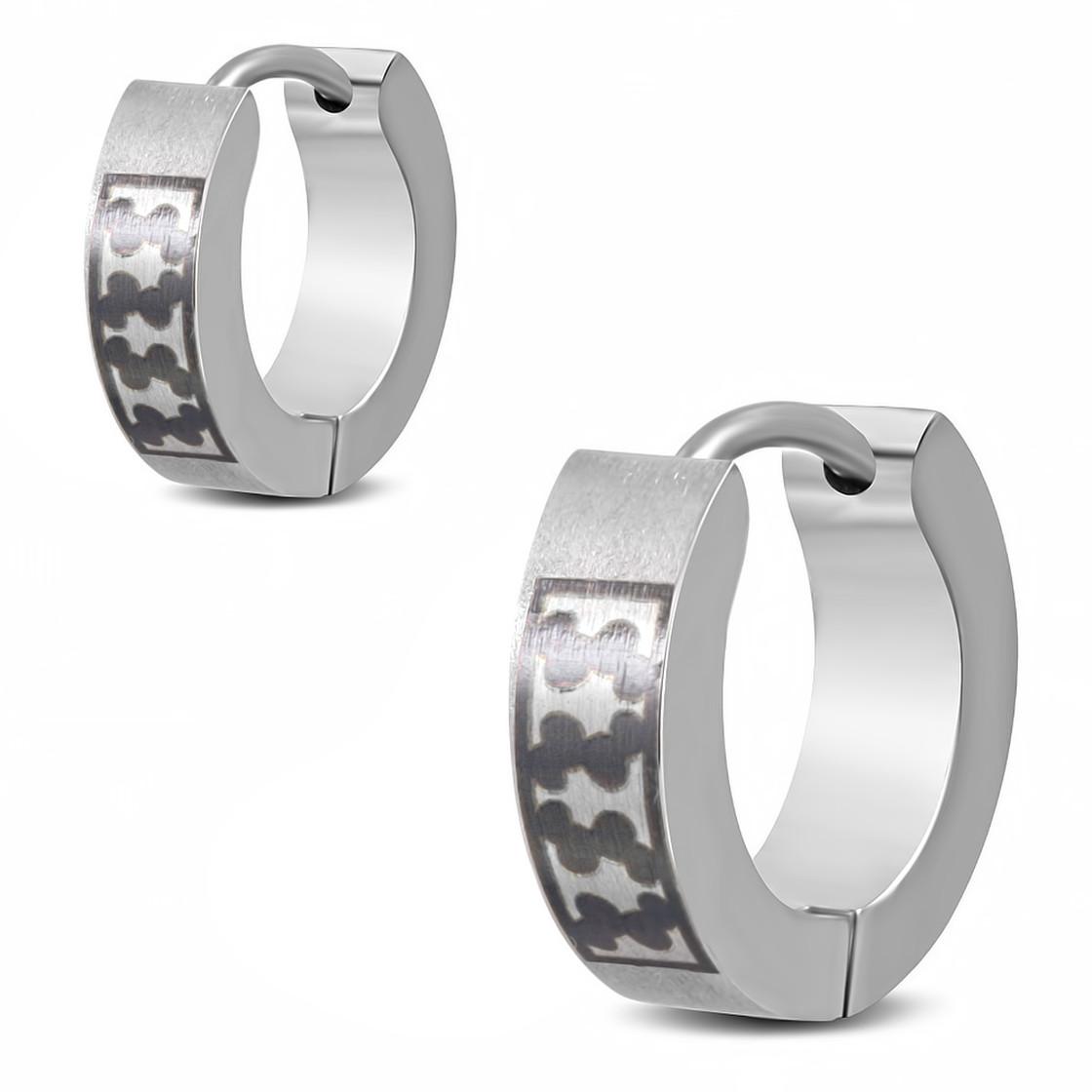 Silberfarben Ohrringe Klappcreolen Damen Edelstahl Schwarz emailiert
